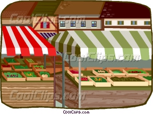 Outdoor Market Stands Vector Clip Art