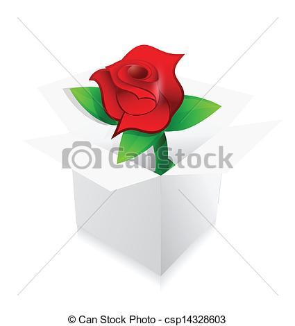Vector Clipart Of Red Rose Present Inside A Box Illustration Design