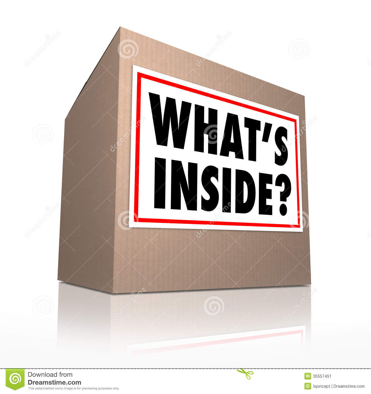 What S Inside Question On A Sticker On A Cardboard Box To Illustrate