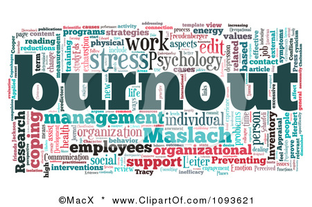 1093621 Clipart Work And Stress Burnout Word Collage Royalty Free