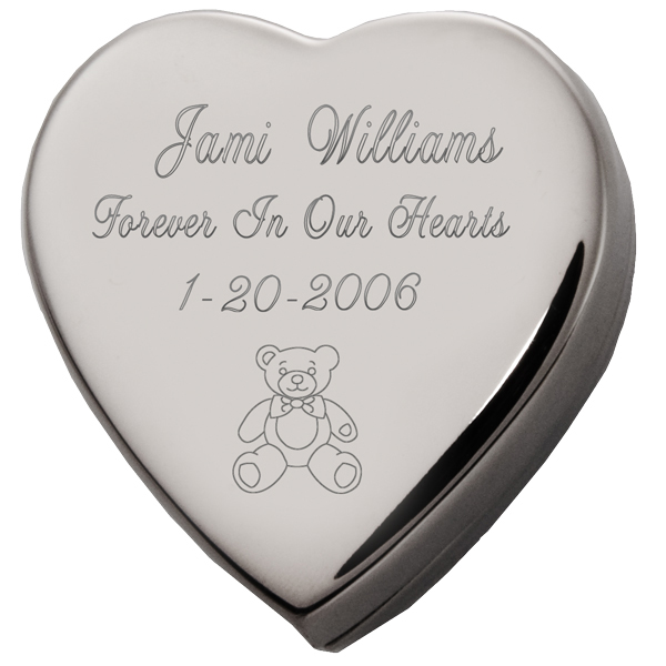 Baby Urn Memorial Heart Cremation Box With Free Text Engraving 2 X 2
