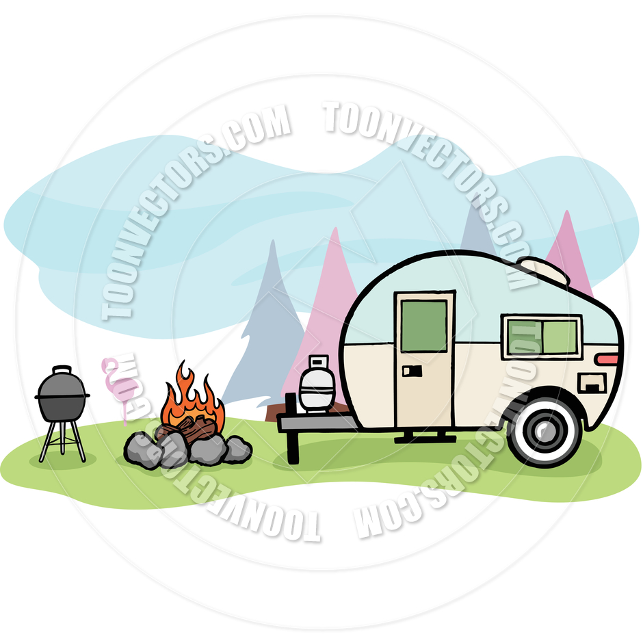 Perfect Vintage Style Camper Trailer And Camping Scene Stock Vector
