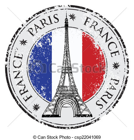 Clip Art Vector Of Paris Town In France Grunge Stamp Eiffel Tower