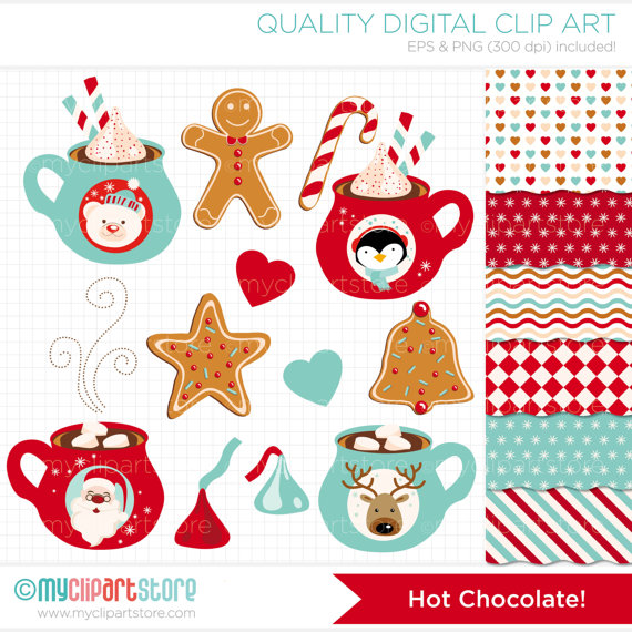 Clipart Combo   Hot Chocolate   Christmas Clip Art   Digital Clipart