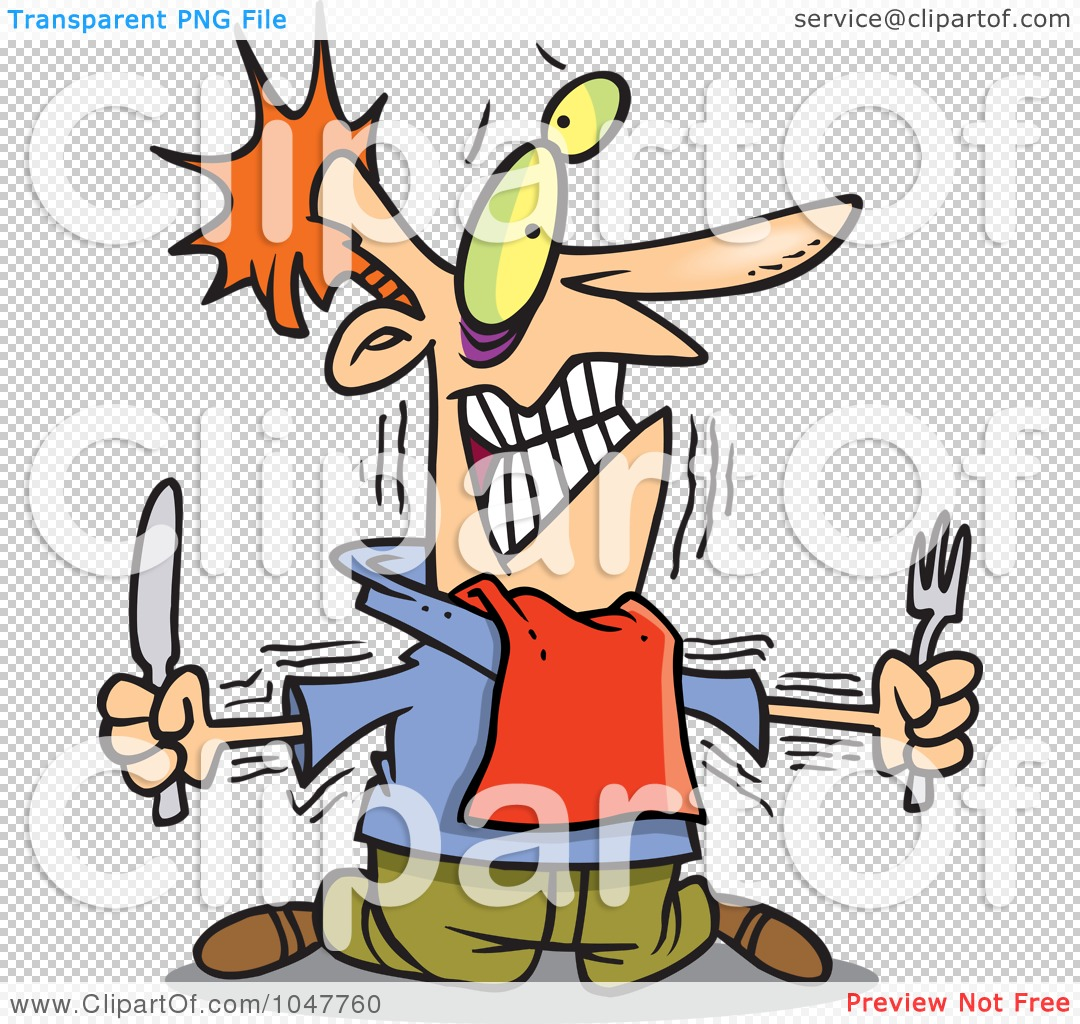 Rf  Clip Art Illustration Of A Cartoon Hungry Man With No Self Control