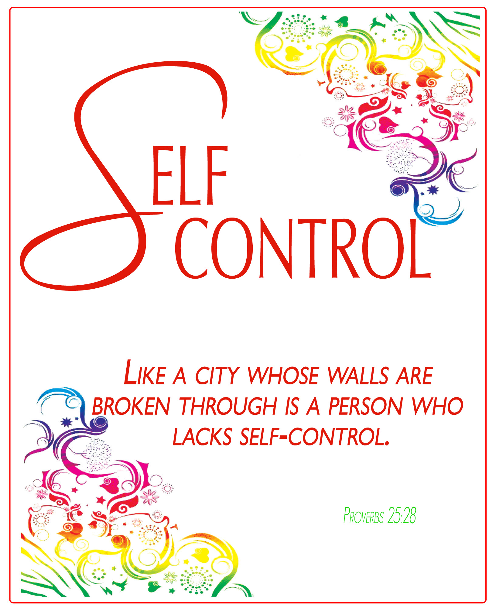Self Control Poster Fruits Of The Spirit