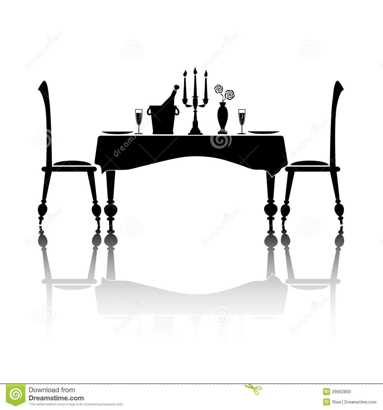 Silhouette Of A Romantic Table