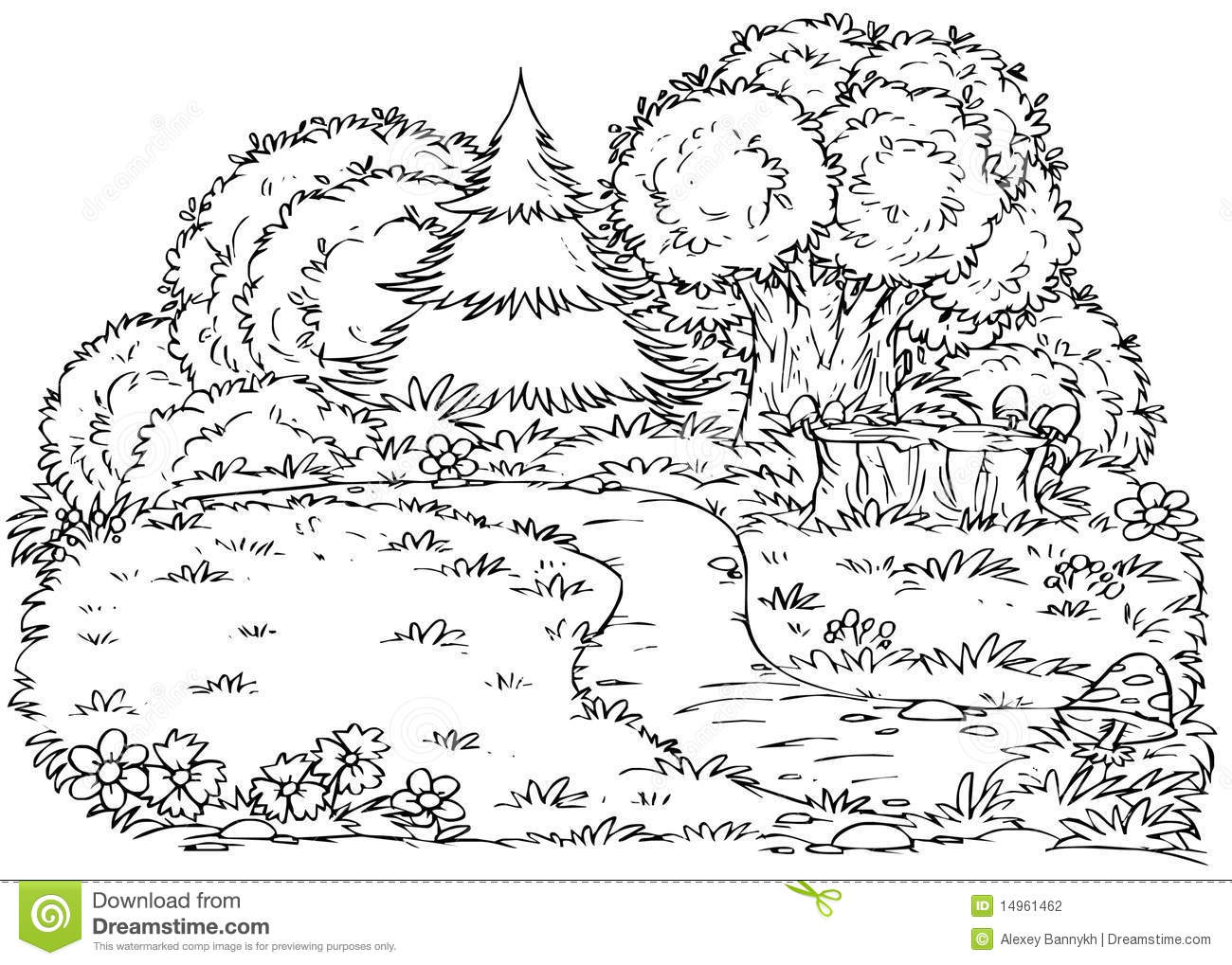 Black And White Illustration  Coloring Page   Forest Glade With A Path