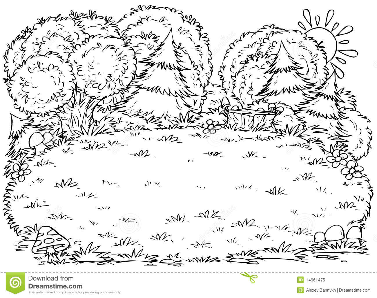 Black And White Illustration  Coloring Page   Glade In A Forest
