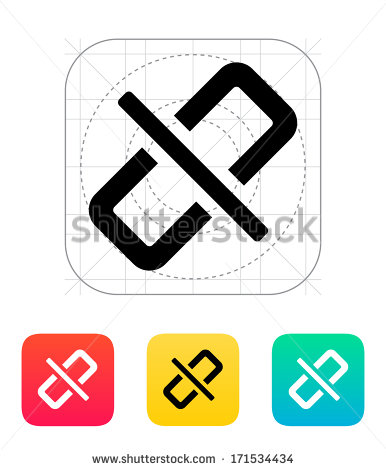 Broken Link Icon  Vector Illustration    Stock Vector