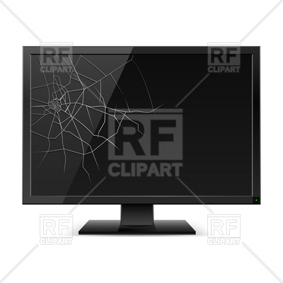 Broken Monitor Or Cracked Tv Screen Vector