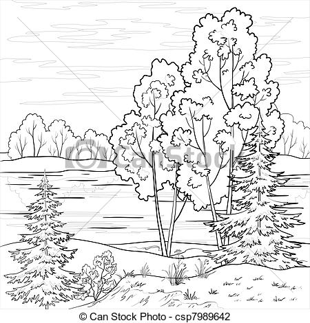 Clip Art Of Landscape Forest River Outline   Landscape  Forest