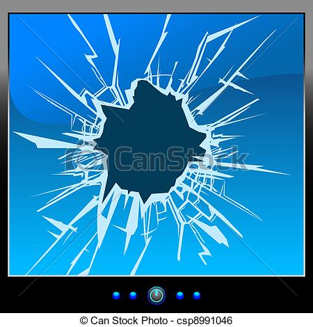 Clip Art Vector Of Monitor Crack   Frustrated By The Monitor Cracks