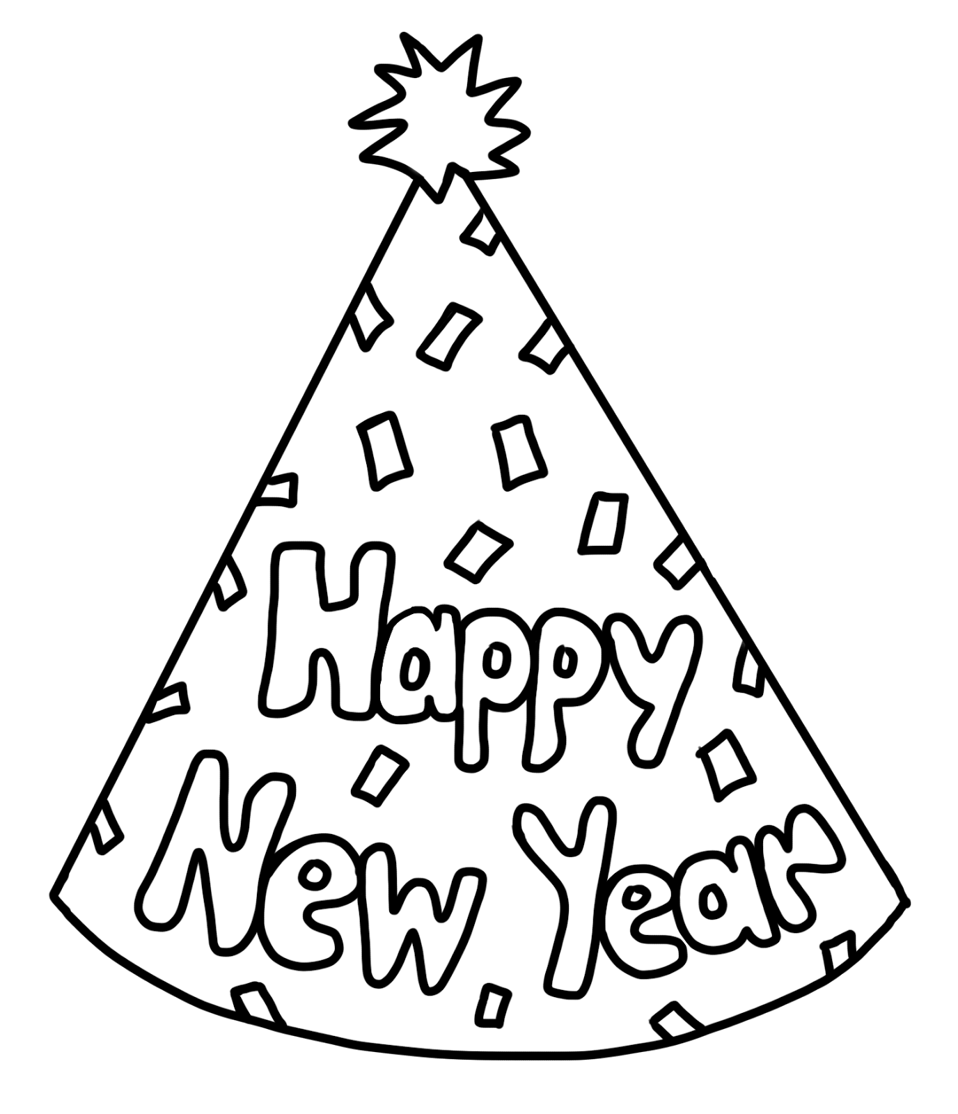 New year party hat black and white clipart clipart suggest for Coloring pages of birthday hats