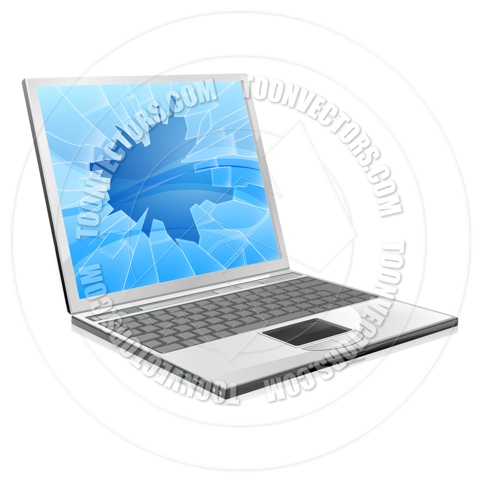 Laptop With Broken Screen By Geoimages   Toon Vectors Eps  35939