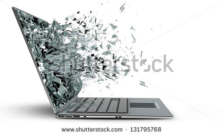 Laptop With Broken Screen Isolated On White Background   Stock Photo