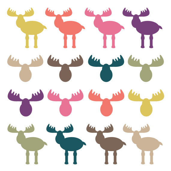 Moose Clipart Moose Heads Woodland Clipart Animal Clipart Antler Clip