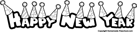 Happy New Year Black And White Clipart - Clipart Kid
