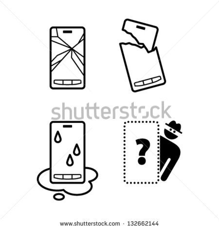 Pictograms   Icons Of Mobile Phone Damage  Cracked Screen Broken Case