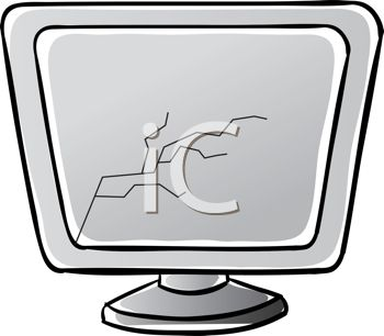 Royalty Free Clip Art Image  Broken Computer Screen