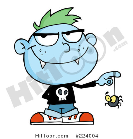 Vampire Clipart  224004  Blue Vampire Kid Playing With A Spider By Hit