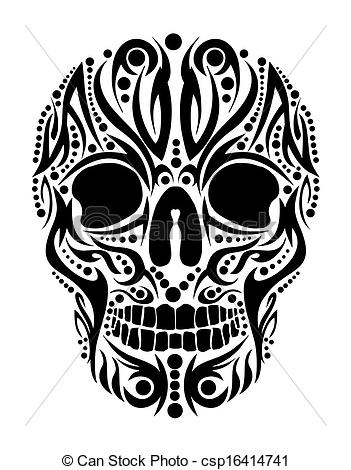 Vector Of Tattoo Tribal Skull Vector Art Csp16414741   Search Clip Art
