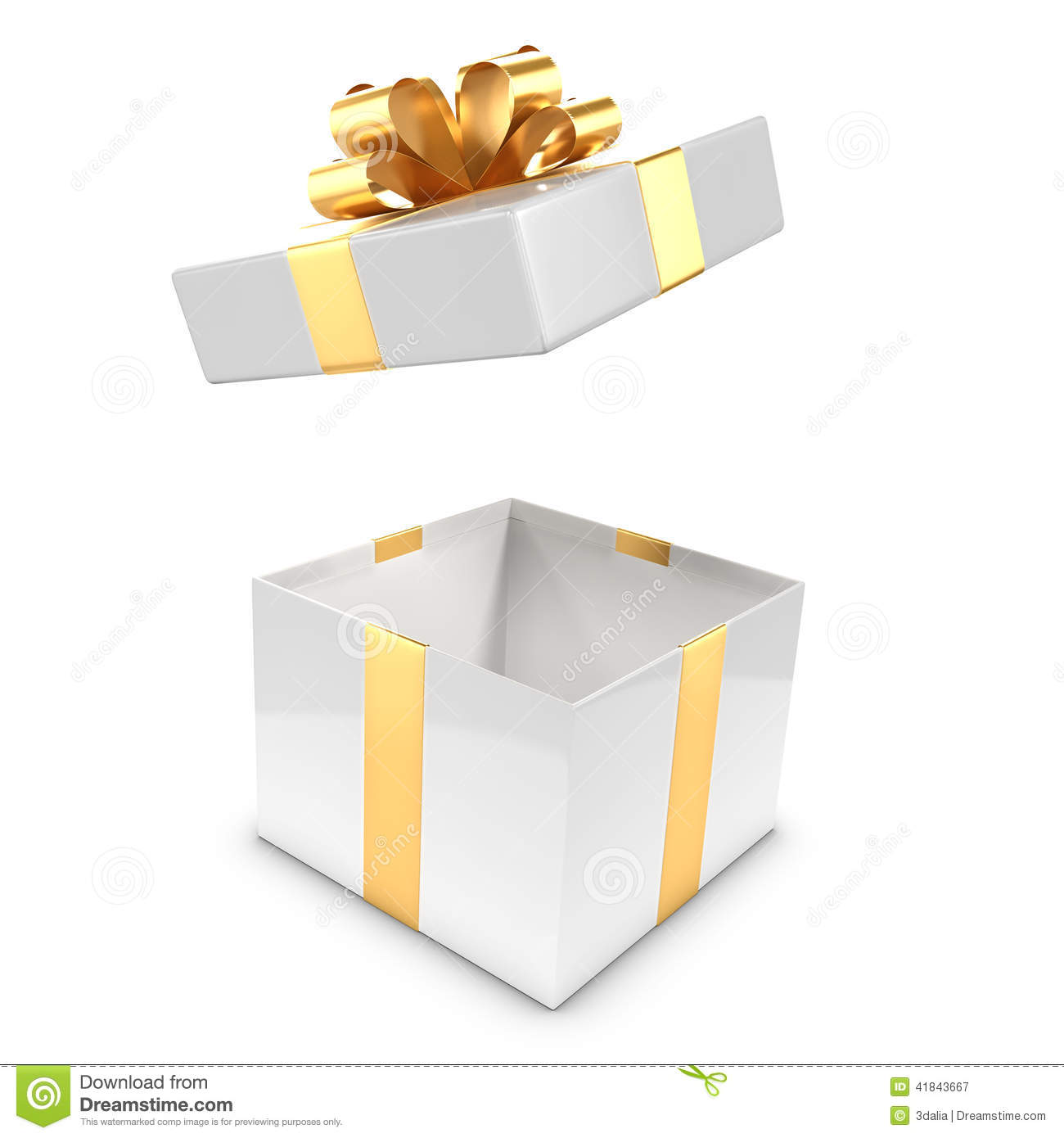 3d White And Gold Gift Box Pops Open Stock Illustration   Image