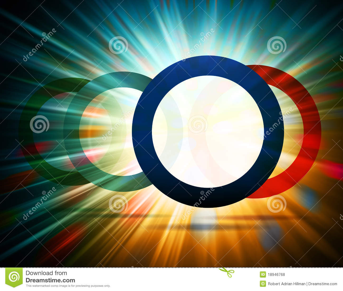 Abstract Background Of A Colorful Burst Of Light Through Circles
