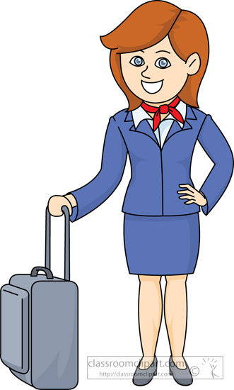 Airline Flight Attendant With Carry On Bag   Classroom Clipart