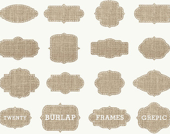 Burlap Frames Clipart  Burlap Frames Clipart Pack With Burlap Labels