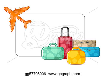 Clip Art   Illustration Of Airplane Taking Off With Luggage On White