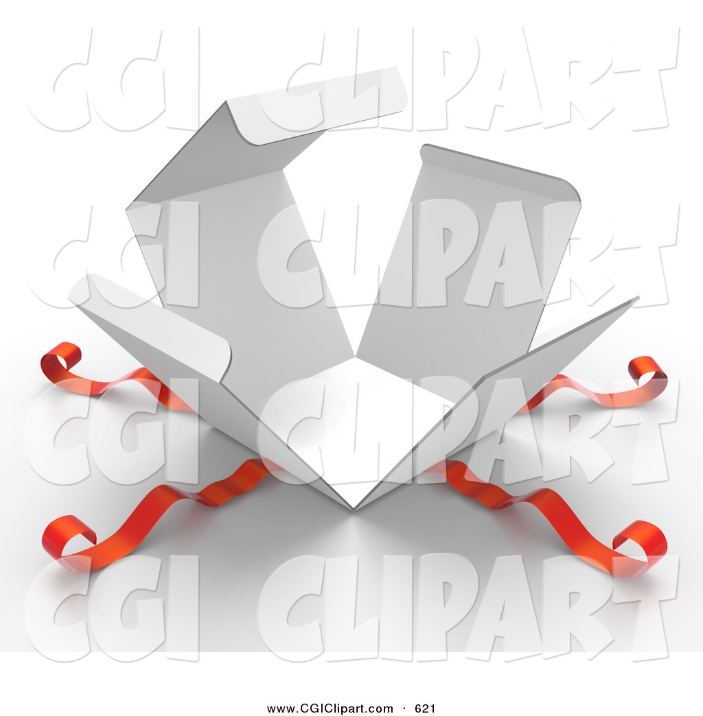 Clip Art Of A 3d Bursting Open White Gift Box With Red Ribbons By