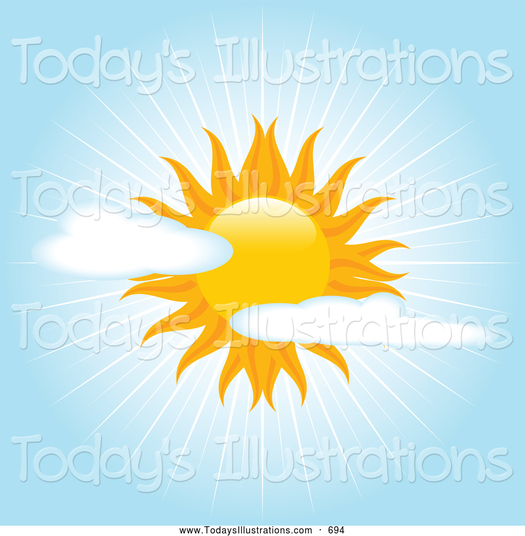 Clipart Of A Bright Beautiful Sun In A Partially Cloudy Blue Sky With