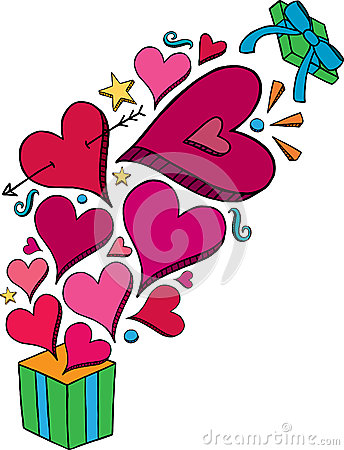 Doodle Heart Gift Explosion Stock Photography   Image  36531822