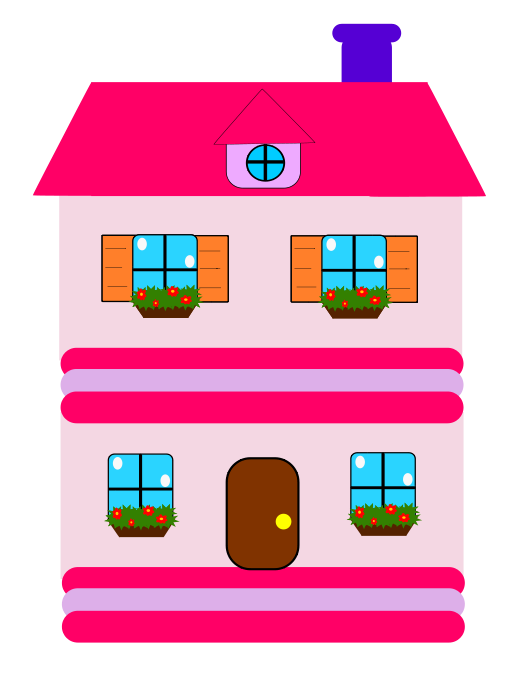 Free Pink Cartoon House Clip Art