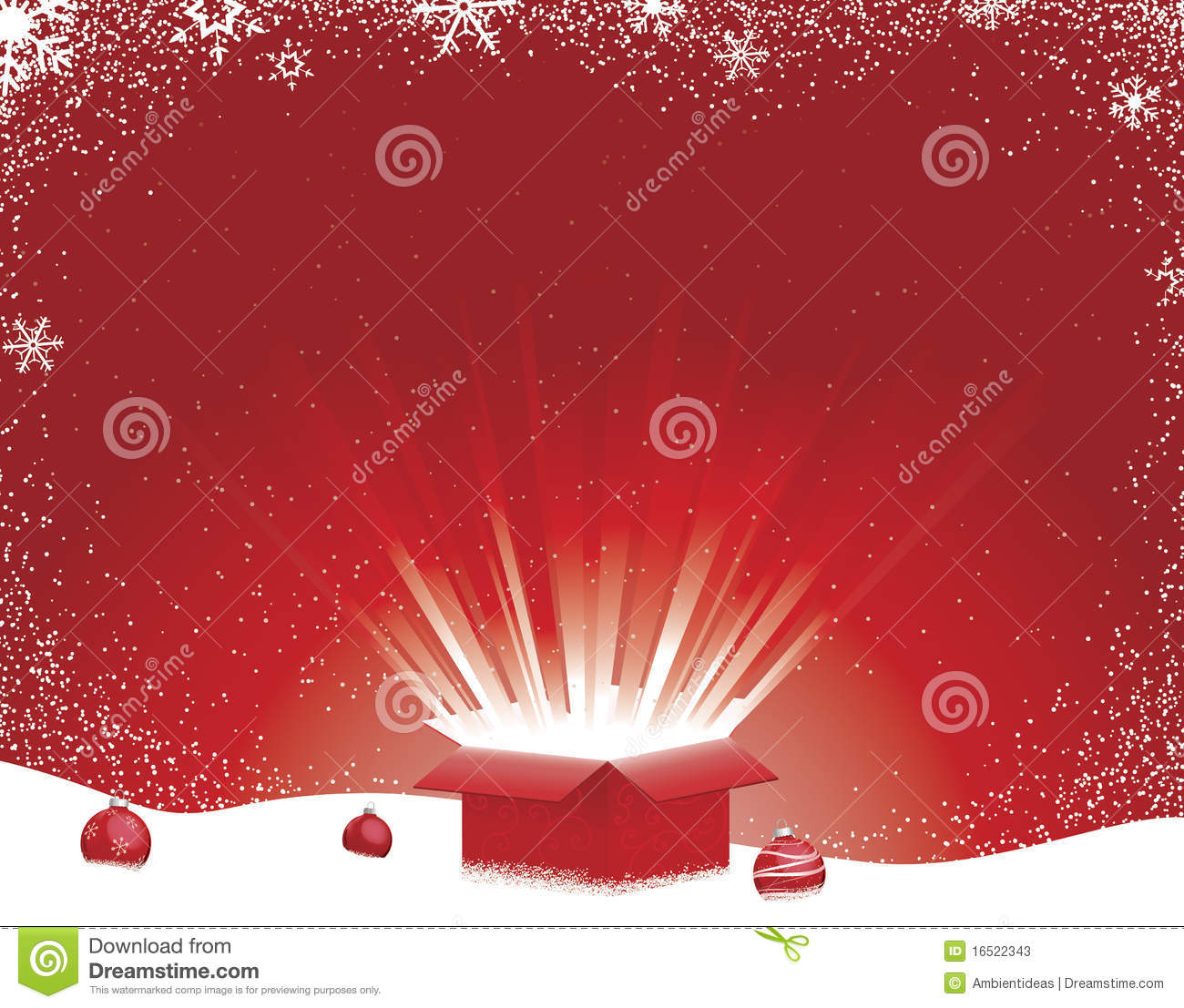 Gift Box Exploding Open With Rays Of Light On Snowflake And Snow