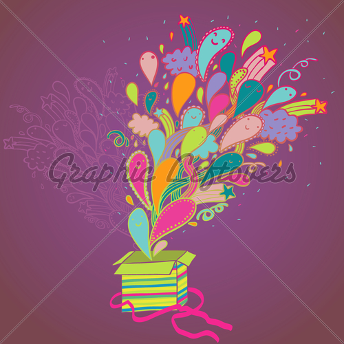 Gift Box With Colorful Burst   Gl Stock Images