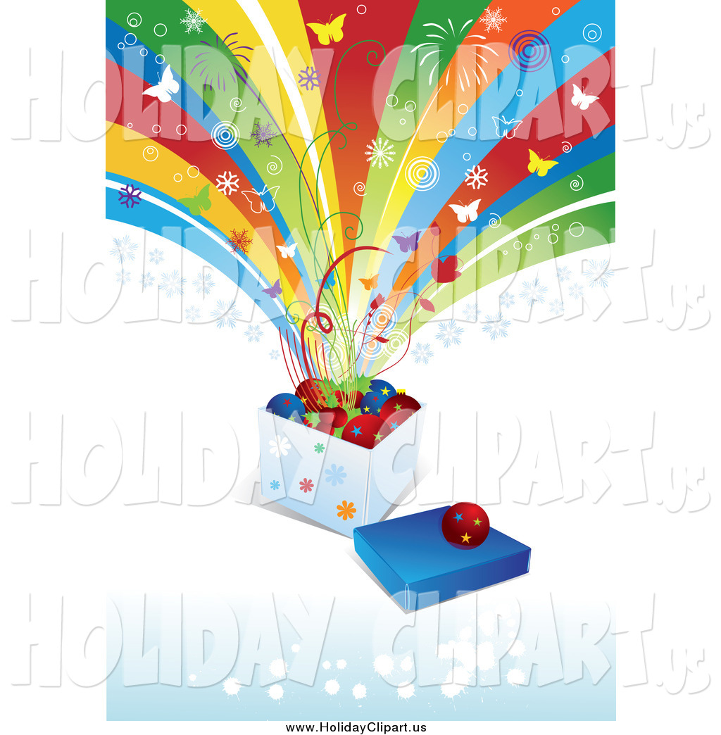 Holiday Clip Art Of Butterflies And Fireworks Exploding From A Box