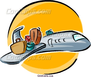 Luggage On Wing Of Plane Vector Clip Art