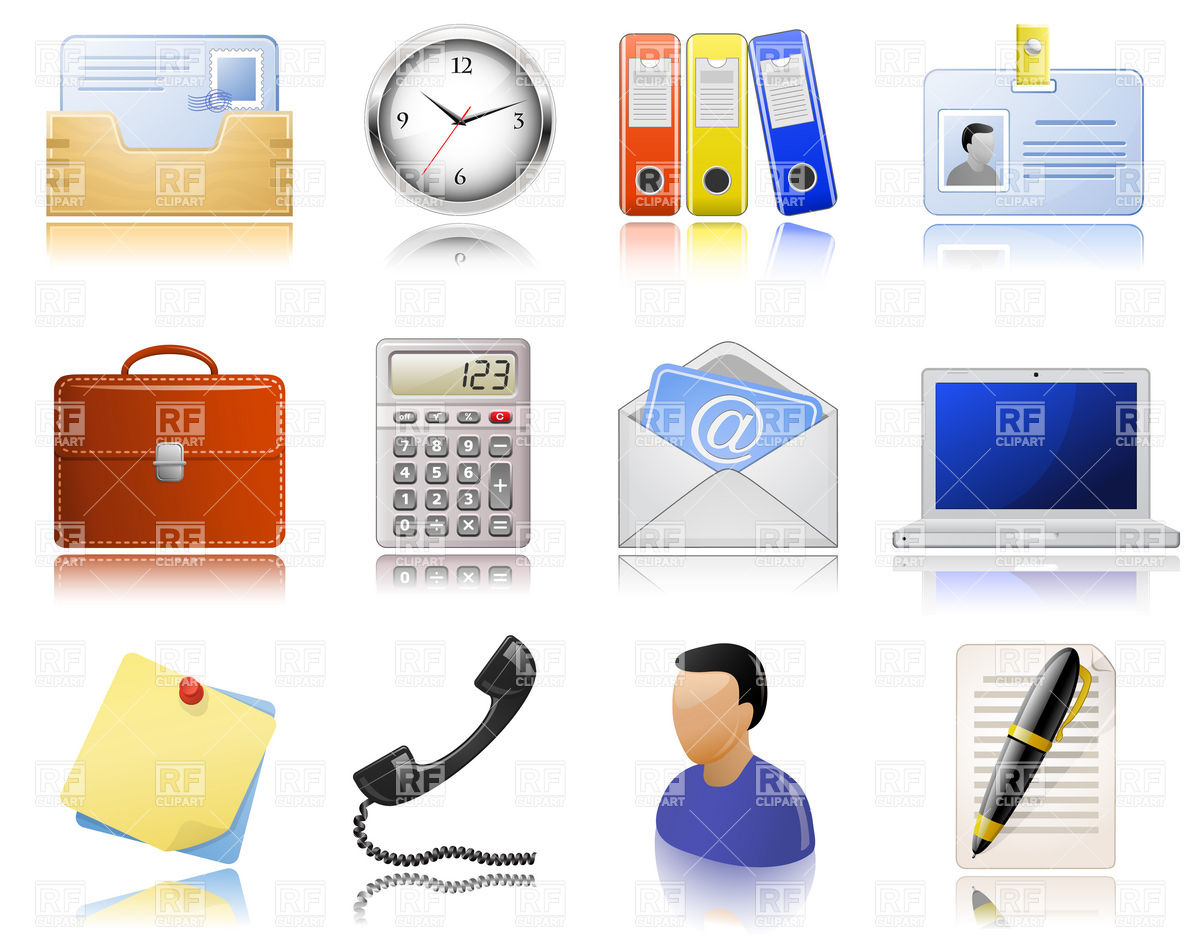 Office Supplies And Bureaucracy Icons 5391 Download Royalty Free