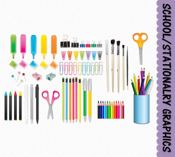 School Clip Art Stationary Supplies Clipart Graphic Scrapbook Back To