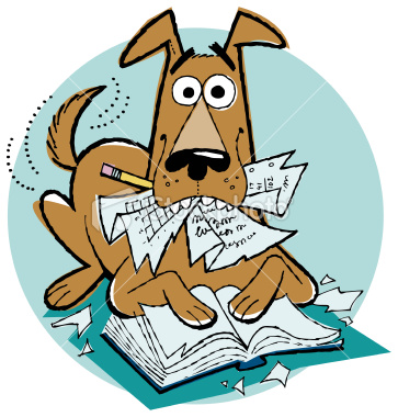 homework dog clipart