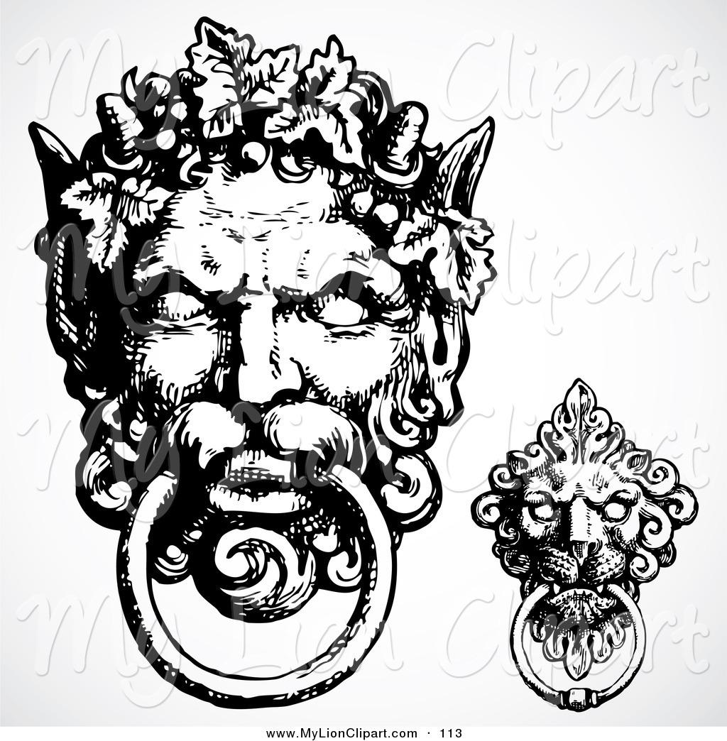 Black And White Gargoyle Door Knockers Lion Clip Art