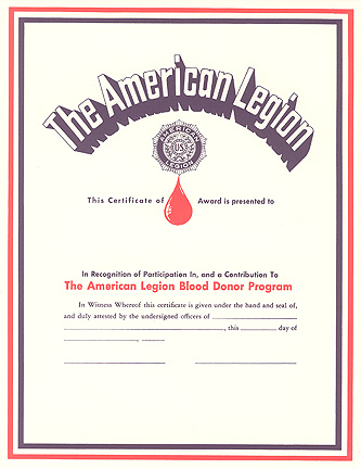 Blood Donor Certificate