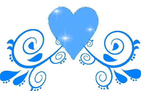 Blue Heart Swirl Clip Art At Clker Com   Vector Clip Art Online