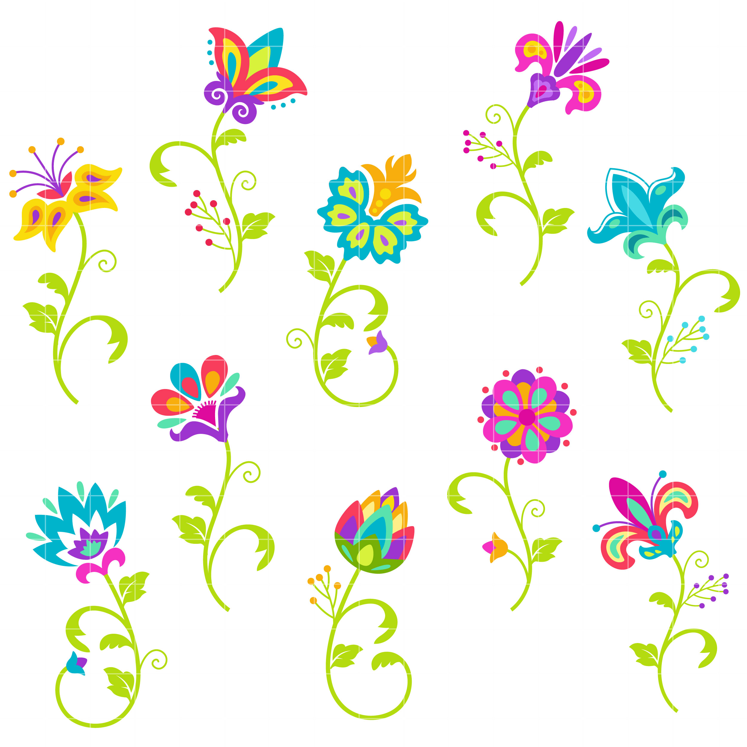 Bright Flowers Semi Exclusive Clip Art Set For Digitizing And More