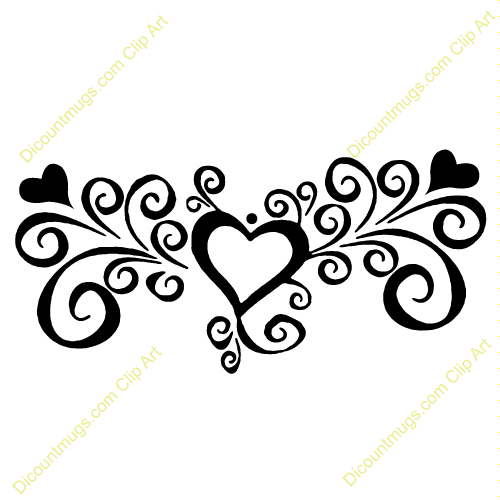Clipart 12054 Heart With Swirls   Heart With Swirls Mugs T Shirts