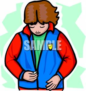 Clipart Image Of A Girl Zipping Up Her Jacket