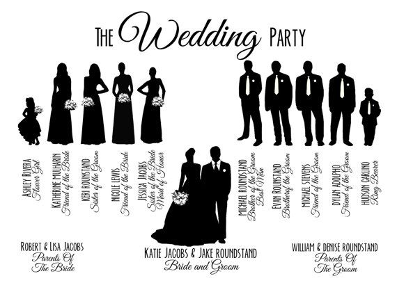 Custom Printable Wedding Party Bridal Party Silhouette       Wedding