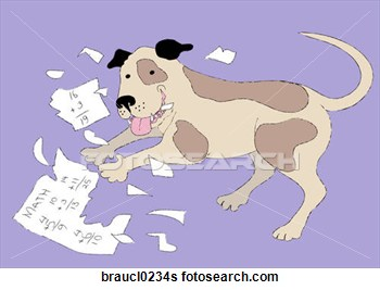 Dog Ate My Homework  Fotosearch   Search Clip Art Drawings Fine Art